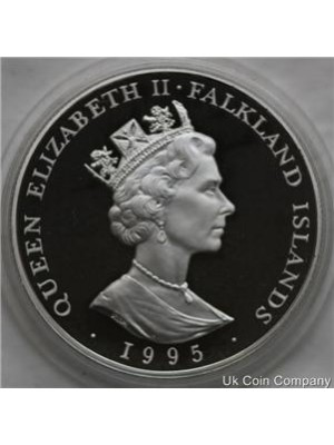 1995 Falkland Islands Sterling Silver Proof 50p Coin with cert